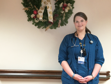 "Kaitlyn is an RN, BSN, Critical Care Float Pool, and has been at Mercy since 2012. She said she loves her manager, Lisa. ""She is very caring and empathetic and really tries to work with her employees,"" Kaitlyn said. ""She has been a great mentor to me, and was also very helpful in helping me to get started with my master's."" Kaitlyn says she like the people she works with a lot. ""Mercy also has great values and treats the patients and staff very well,"" she said."