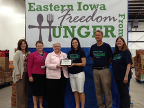 In 2013, Mercy employees raised $5,207.35 – which translates to 20,828 pounds of food, or 15,621 meals for HACAP's Eastern Iowa Freedom from Hunger. Thanks to everyone who donated!