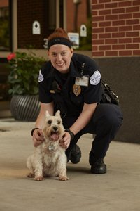 Samantha, Mercy Security Guard, with Sissy the Schnauzer