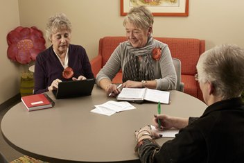 Caregiver's Lounge provides a place for family conferences or meetings with caregiver coaches. It will also provide a space for small training sessions.