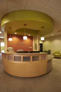 Reception Area welcomes guests and families; the center is available during regular business hours, Monday through Friday.
