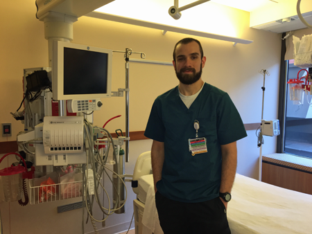 "Jason has been an RN in the Intensive Care Center (ICC) since 2014. After multiple job shadows, he chose Mercy because he loved the environment, teamwork and interaction. ""Everyone helps everyone else out. We're all coworkers, but we're all friends, too. Nowhere else is like here,"" he said. ""I love that we treat people like people – not a number, a room number or a diagnosis."" Jason says the physicians are fantastic to work with and the ICC is a great atmosphere."