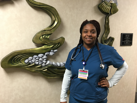 "Tia joined Mercy in the summer of 2015 as an LPN in the Post-Acute Float Pool. Tia says, ""I love this hospital."" She appreciates that Mercy cares about family, and what's going on with employees. She also has high praise for her manager, ""He's like superman. He has so many people in the float pool and he accommodates every single one. He's a dad, so he understands that we have things that go on outside of work."" Tia adds, ""Every single employee has a smile."""