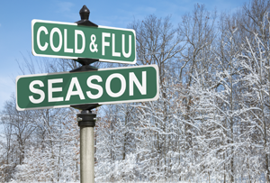 Cold & Flu Season road sign
