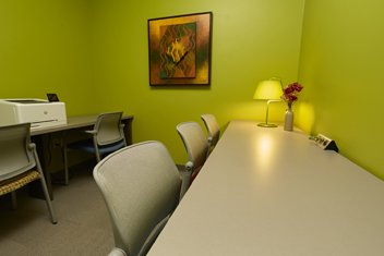 Caregiver Coaches Room provides a convenient space for volunteer caregiver coaches to work in the center.