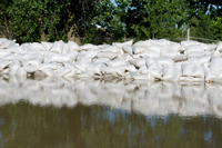 Sandbags during a flood