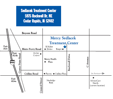 Map of Sedlacek Treatment Center location