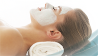 Woman relaxing after a facial