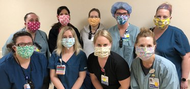 Mercy staff in homemade masks